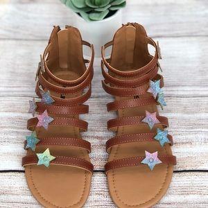 New Girls Kelisi Sparkle Stars Gladiator Sandals